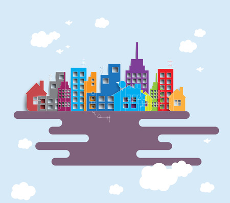 building estate: Building and real estate city illustration. Abstract background for business presentation, sale, rent