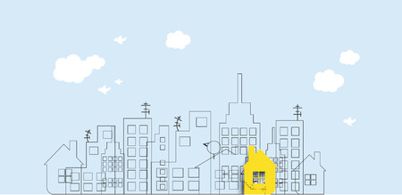 abstract building: Building and real estate city illustration. Abstract background for business presentation, sale, rent