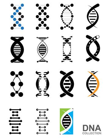 DNA 抽象的なアイコンと要素のコレクションです。未来技術のインターフェイス。ベクトル形式