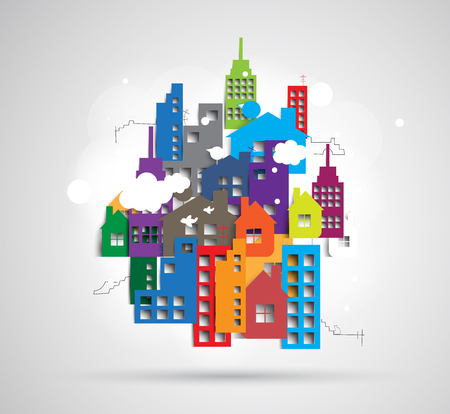 rent house: Building and real estate city illustration. Abstract background for business presentation, sale, rent