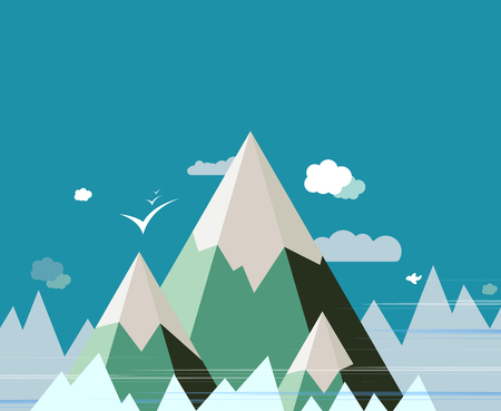 panoramic beach: Abstract Mountain landscape vector design background