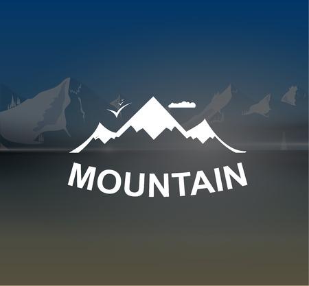 beach panorama: Mountains retro vector background