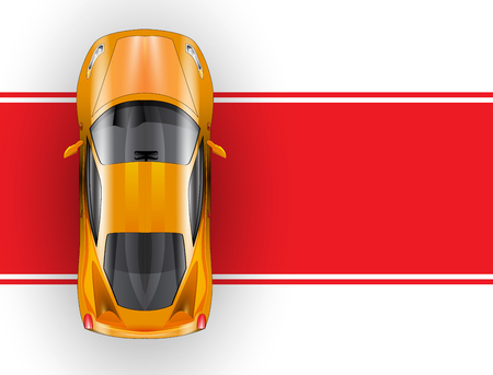 clean car: Car on the red carpet vector icon. top view for your project