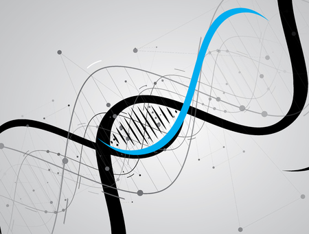 genetica: Icona astratta del DNA e la raccolta elemento. Interfaccia tecnologia futuristica. Formato vettoriale
