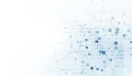 công nghệ: thế giới trừu tượng với nhiều kết nối thấp chấm và đường nền