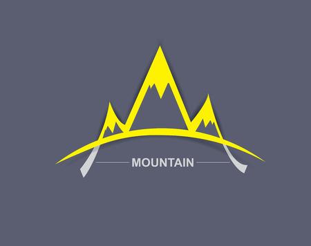 panoramic beach: Mountains retro vector card background