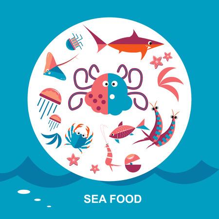 crucian: Set of seafood cuisine vector illustration. Cartoon style background