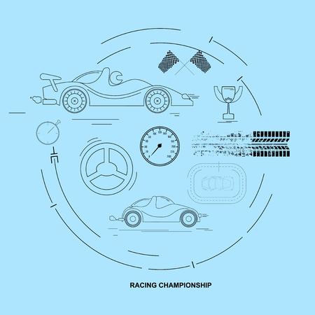 championship: Racing Car Championship. Icon set