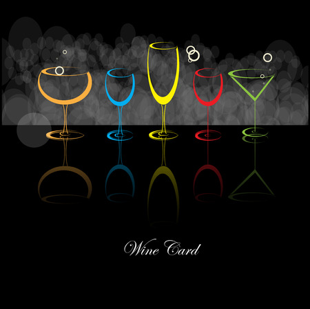 white riesling grape: Wine menu card design with glass background