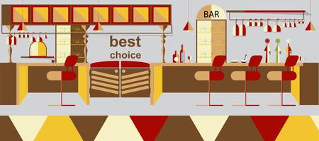 footstool: Bar interior vector illustration background Illustration