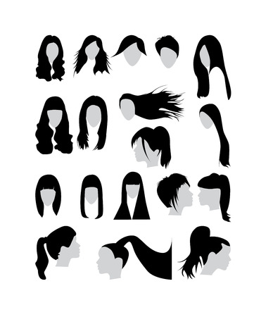 long straight hair: Woman hair vector set collection Illustration