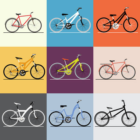 Vector bicycles set. Travel and and sport theme. For business presentation