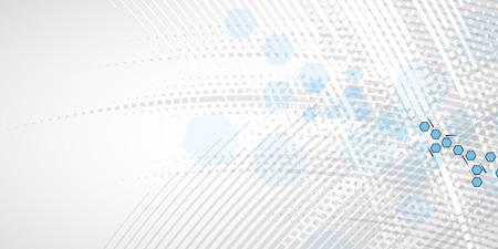 과학적 미래 기술. 사업 발표 용. 플라이어, 포스터 벡터 개념 배경