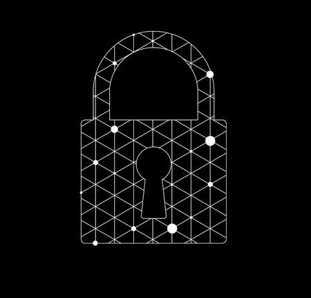 lockout: Abstract futuristic technology, lock digital on circuit board