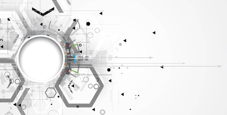 Abstract tech background. Futuristic interface. Vector illustration with many geometric shape. Vettoriali