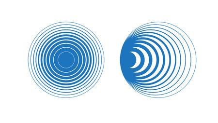 Circle element. Radar and radio signal. Vector sound abstraction wave. Circle ripples. Ilustração