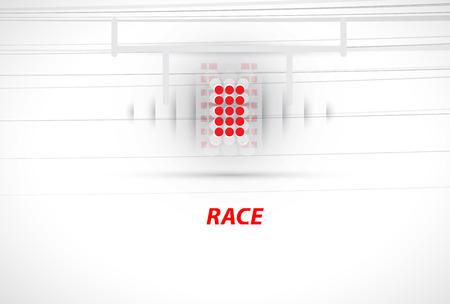 backlight: Racing car backlight.  racing spotlight. Abstract dark background. Race Track