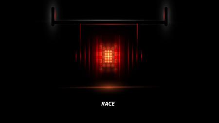 Racing car backlight. racing spotlight. Abstract dark background. Race Track
