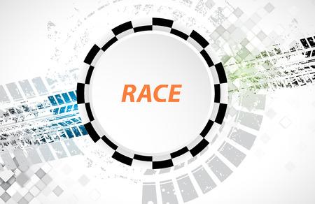 Racing vierkante achtergrond, vector abstractie in racewagen spoor Stock Illustratie