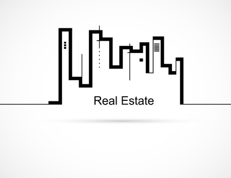 rent: Building and real estate city illustration. Abstract background for business presentation, sale, rent