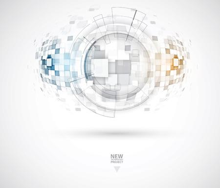 Sfondo astratto di tecnologia. Interfaccia futuristica Illustrazione vettoriale con molte forme geometriche.