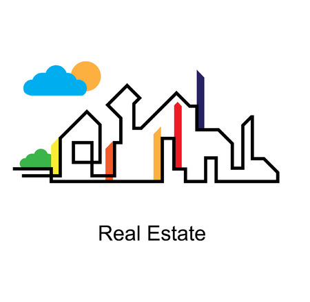 housing: abstract real estate city circuit mirror business background Illustration