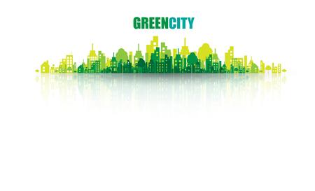Grüne Stadt. Ökologie-Konzept. Speichern Sie das Leben und Umwelt Hintergrund
