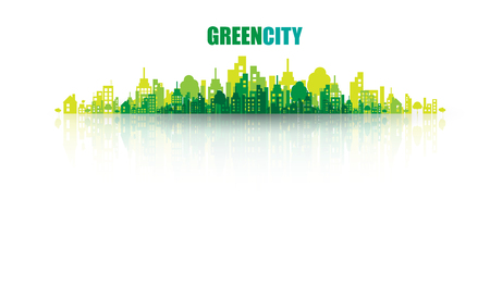 eco car: Green city. Ecology concept. Save life and environment background
