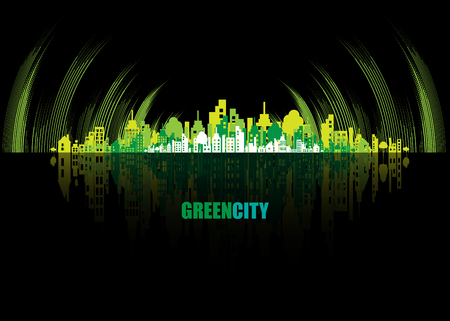 skyline city: Green city. Ecology concept. Save life and environment background