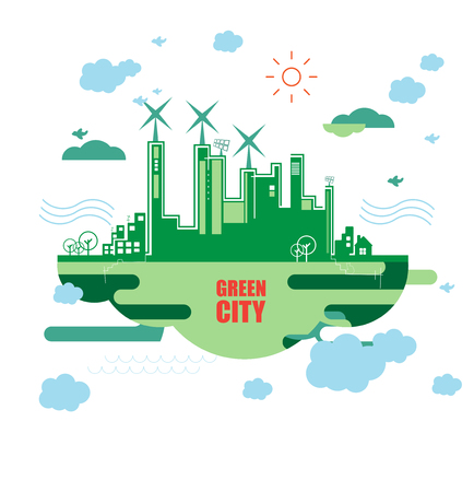 ecology background: Green city. Ecology concept. Save life and environment background