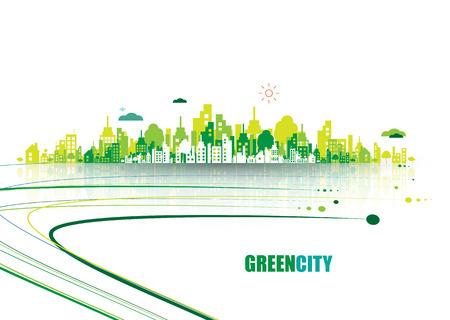 Grüne Stadt. Ökologie-Konzept. Speichern Sie das Leben und Umwelt Hintergrund Vektorgrafik