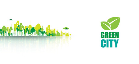 green life: Green city. Ecology concept. Save life and environment background