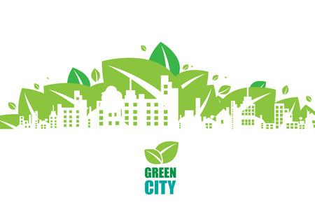 Groene stad. Ecology concept. Redden leven en omgeving achtergrond