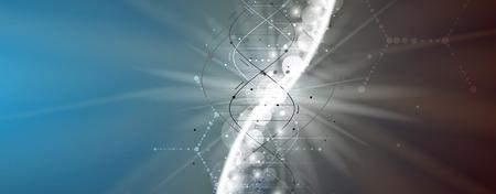 ADN et antécédents médicaux et technologiques. présentation de la structure de la molécule futuriste. pour la solution d'affaires