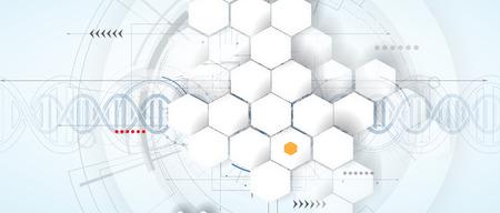 DNA Abstract ikona i zbieranie elementem. Futurystyczny interfejs technologii. Vector formacie
