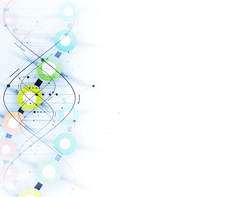 dna and medical and technology background. futuristic molecule structure presentation. for business solution