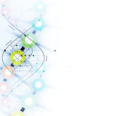 dna en medische en technische achtergrond. futuristische moleculestructuur presentatie. voor zakelijke oplossing Vector Illustratie