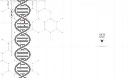 dna en medische en technische achtergrond. futuristische moleculestructuur presentatie. voor zakelijke oplossing
