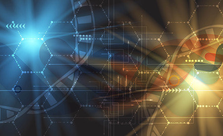 Dna から医療・技術背景。未来的な分子構造のプレゼンテーション。ビジネス ソリューション 写真素材 - 61900428