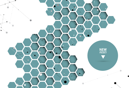 Abstract hexagon background. Technology polygonal design. Digital futuristic minimalism. Vector Illustration