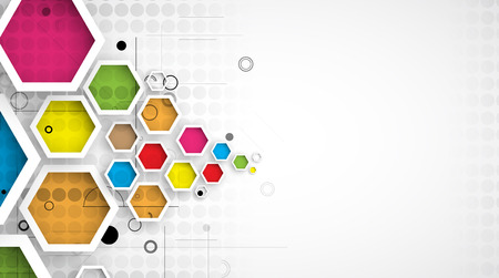 complex: Abstract hexagon background. Technology polygonal design. Digital futuristic minimalism. Vector Illustration