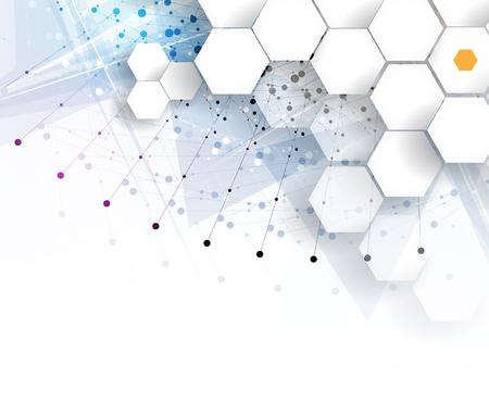 DNA와 의료 및 기술 배경입니다. 미래의 분자 구조 프리젠 테이션. 비즈니스 솔루션 일러스트