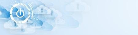 Moderne cloud-technologie. Geïntegreerde digitale web concept achtergrond