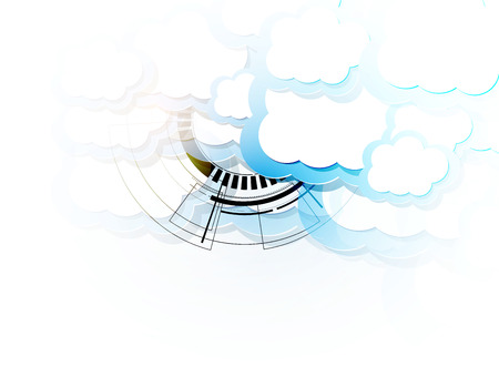 Modern cloud technology. Integrated digital web concept background Ilustrace