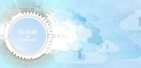 Modern cloud technology. Integrated digital web concept background Illustration