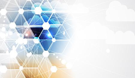 Modern cloud technology. Integrated digital web concept background Stock Illustratie