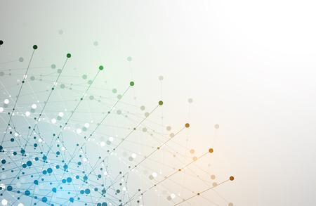 추상 기술 입자. 가상 분자 상상력입니다. 비즈니스 솔루션 및 프리젠 테이션을위한 컴퓨터 생성 배경