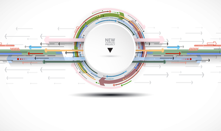 Flow of arrows. Imagination of business or technology process. Vector futuristic  background with great idea for presentation Illustration