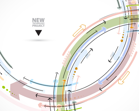 open source: Flow of arrows. Imagination of business or technology process. Vector futuristic  background with great idea for presentation Illustration