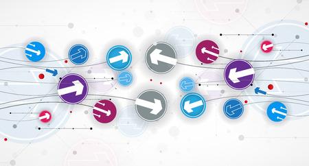 Doorstroming van pijlen. Verbeelding van zaken of technologie proces. Vector futuristische achtergrond met leuk idee voor presentatie